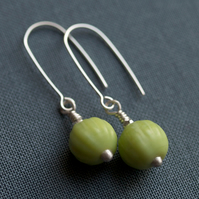 Little Gooseberry Earrings - made with frosted glass and sterling silver