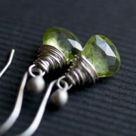 Grassy Meadow Earrings - made with peridot and sterling silver