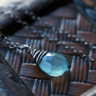 Ocean's Whisper Pendant - made with chalcedony and oxidised sterling silver