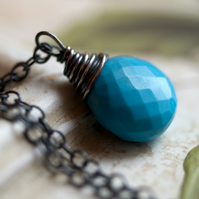 Robin's Egg Necklace - made with turquoise and oxidised sterling silver