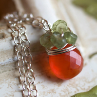 Tangerine Necklace - made with carnelian, peridot and sterling silver