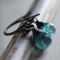 Spirited Sea Earrings - made with apatite and oxidised sterling silver