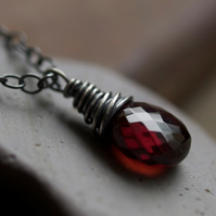 Little Red Drop Pendant - made with garnet and oxidised sterling silver
