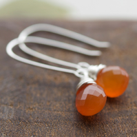 Tangerine Drop Earrings - made with carnelian and sterling silver