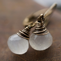 Glowing Moon Earrings - made with moonstone and oxidised brass