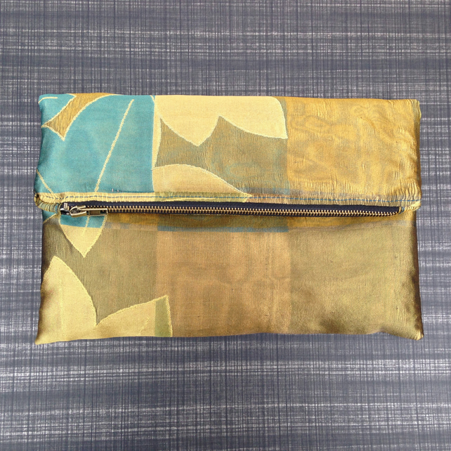 Pure Silk Clutch Bag with Zip Top Closing