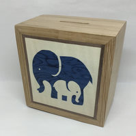 An Adorable Blue Elephant Mother With Her Baby Money Box (Piggy Bank)
