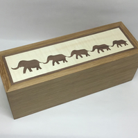 A Lovely Family of Elephants Linking Trunks With Tails Pencil (Trinket) Box