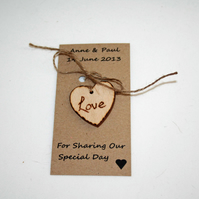 10 x Love Tokens Wedding Favours Personalised Favours Heart Tags