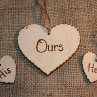 Wedding Signage, His Hers Ours, unity candle decoration Wedding Decor