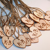 Personalised Wedding Tags, Glass Charms, Wooden Heart Favours pack of 25