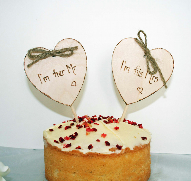 Rustic Wooden Heart Cake Topper