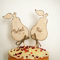 Perfect Pair, Cake Topper, Rustic Cake Topper, Pear cake topper