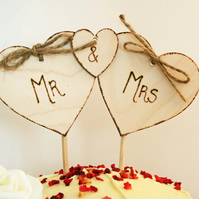 Mr & Mrs Cake topper, Triple Heart Cake Topper,, Rustic Topper, wedding cake top