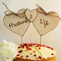 Husband & Wife Cake Topper, wooden cake topper, wedding cake topper