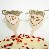 Small Rustic Cake Toppers, I do cake topper, I Do Me Too cake topper