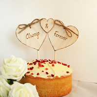 Triple Heart Cake Topper Rustic Wedding