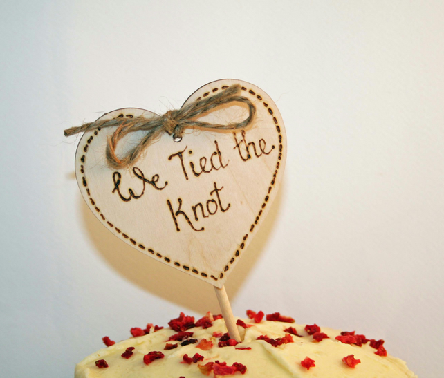 We tied the knot, cake topper, wedding cake topper , beach wedding