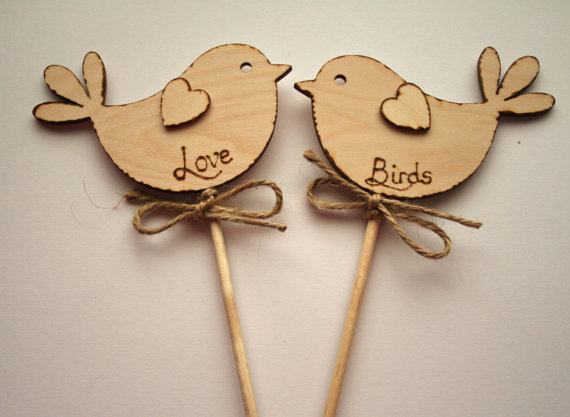 Love Birds, Rustic Wedding Cake Topper, Bird Cake Topper - Rustic Cake Topper