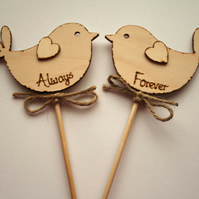 Rustic Wedding Cake Topper, Always  Forever, Bird Cake Topper