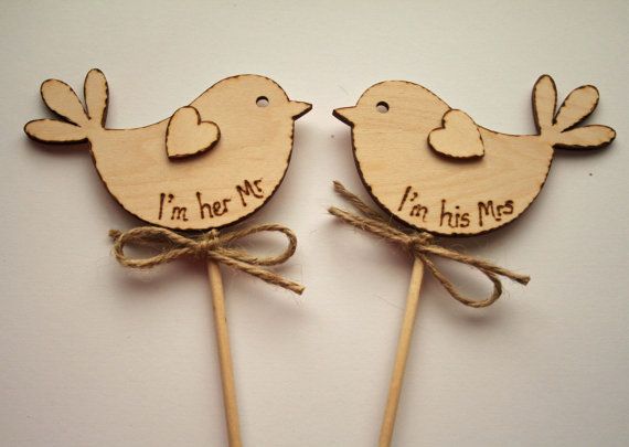 Rustic Wedding Cake Topper, I am her Mr, Bird Cake Topper, Rustic Cake Topper,