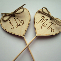 Rustic Heart Cake Toppers. I Do Me Too, Wedding Cake Topper, Rustic Wedding