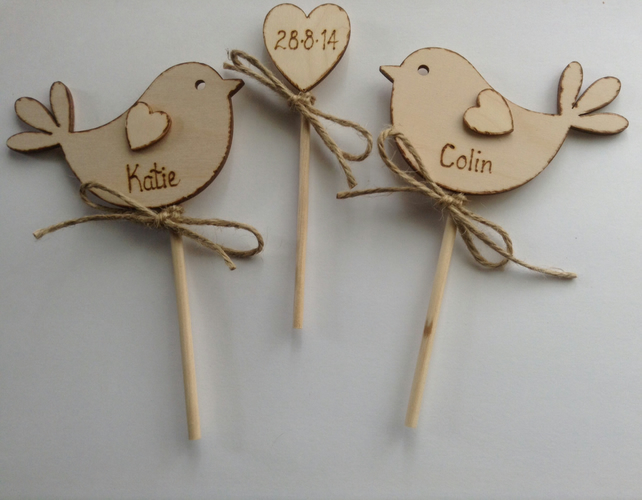 Personalised Wedding Cake Topper, Bird Cake Topper