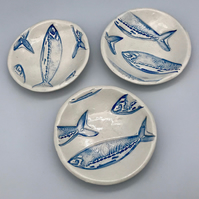Handmade pottery ceramic trinket bowl nautical fish sea beach collection anniver