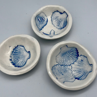 Handmade pottery mini ceramic trinket bowl nautical fish sea beach collection an