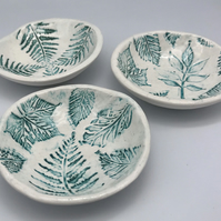 Handmade pottery ceramic trinket bowl botanical leaves fauna garden collection a
