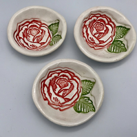 Handmade pottery mini ceramic trinket bowl horticulture rose garden collection a