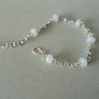 White Quartz and Seed Bead Rotary Link Bracelet