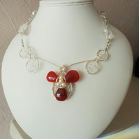 Carnelian, Clear Quartz and Pearl Silver Statement Necklace