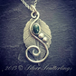 Stirling silver elven leaf necklace with large emerald