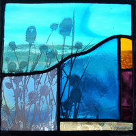 Teasels at Sunrise Contemporary Stained Glass Panel