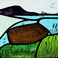 Contemporary Stained Glass Panel - Boat moored in the reeds