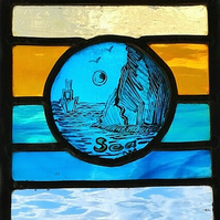 Contemporary Stained Glass Panel - Sea