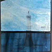 Contemporary Stained Glass - Lighthouse Harbour Marker: sea and sky