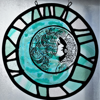 Art Noveau Woman Roundel, Stained Glass Panel