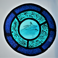 Drifting Away, Contemporary Stained Glass Roundel