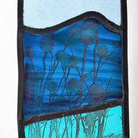 Teasels by the Sea, Contemporary Stained Glass Panel