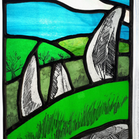 Dartmoor Standing Stones, Contemporary Stained Glass Panel