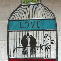 Stained Glass Hand Painted Bird Cage with love birds