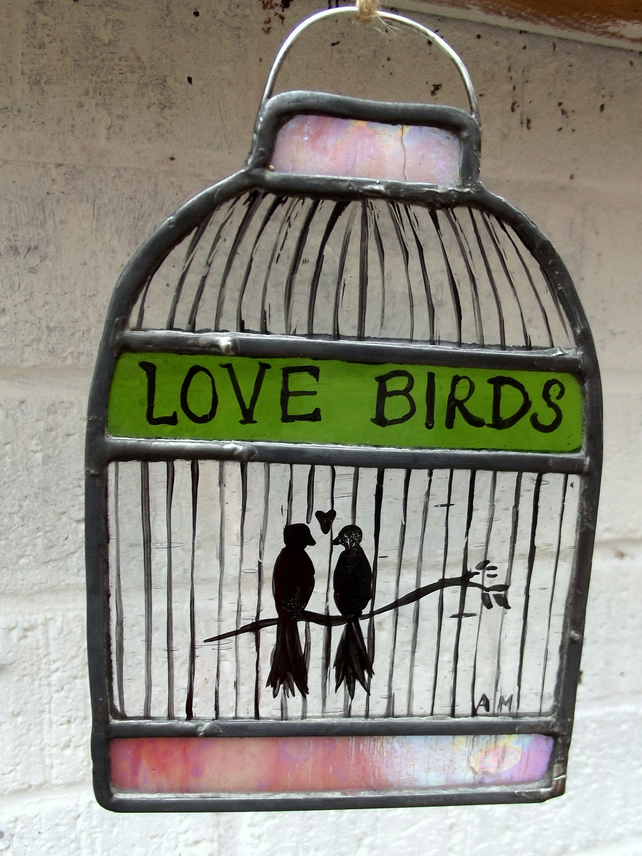 Stained Glass Hand Painted Birdcage with Love Birds, Medium Size