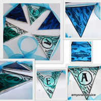 SEA and fish, stained glass bunting