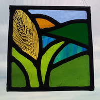 Tiny Ear of Corn, Stained Glass Panel