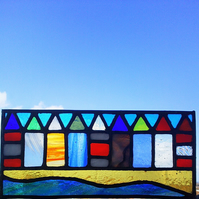 Stained Glass Panel, 9 Tiny Beach Huts