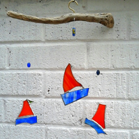 Stained Glass Boat Mobile, Orange and Blue Bobbing Boats