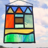 Stained Glass Leaded Sun catchers, Teeny Tiny Beach Huts
