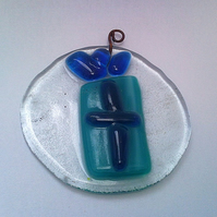 Blue Present, Recycled Fused Glass Christmas Decoration